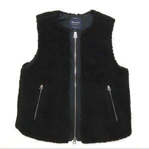 Madewell Black Fleece Vest Large L Zip sherpa